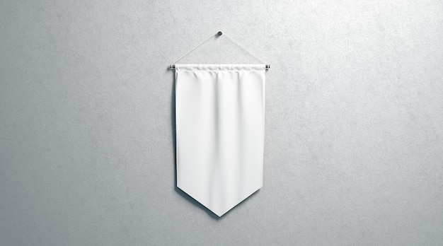 Gagliardetto a rombo bianco vuoto, montato a parete, rendering 3d. bandiera vuota, isolata sulla superficie. pendente trasparente da appendere, vista frontale.