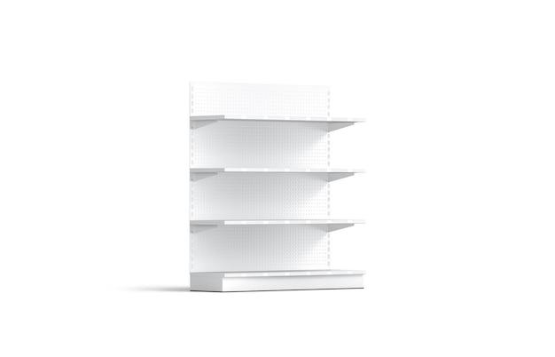 Mensole bianche vuote della vetrina, vista semi-girata