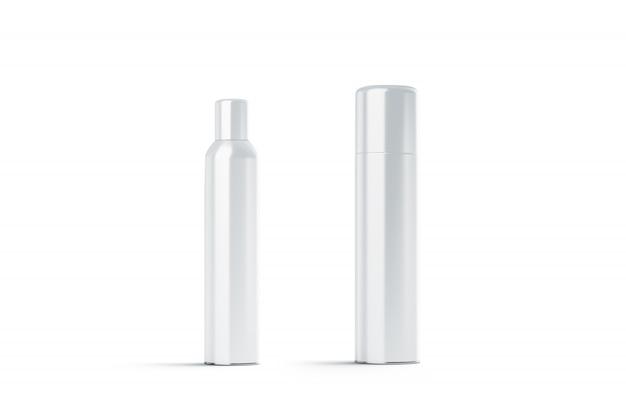 Bottiglia di lacca per capelli chiusa in acciaio bianca vuota
