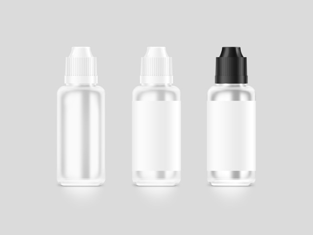Bottiglia liquida bianca in bianco del vape isolata