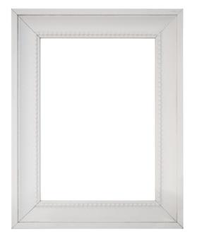 Cornice per foto vintage bianca vuota isolata su sfondo bianco