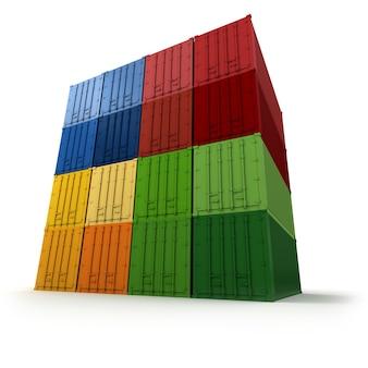 Blocco di container colorati ordinatamente impilati