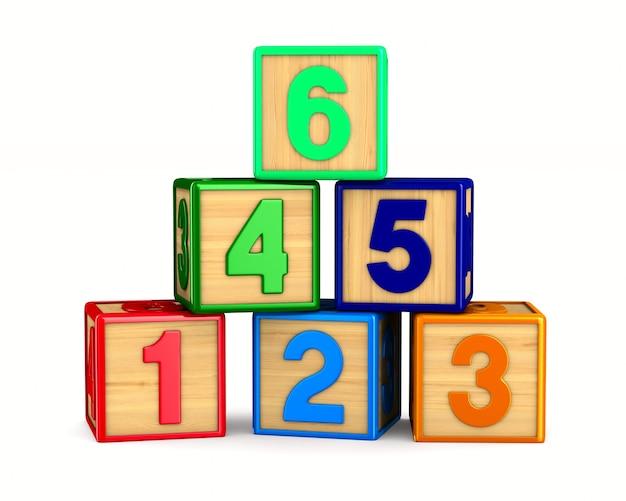 Blocco con numero su sfondo bianco. illustrazione 3d isolata