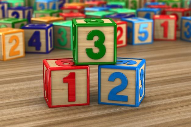 Blocco con numero su superficie in legno. illustrazione 3d