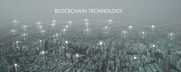 Tecnologia della linea di connessione blockchain e concetto di sicurezza informatica, rete fintech e social digitale moderno nella nuova normalità
