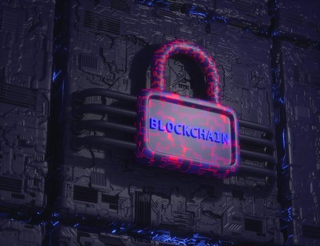 Concetto di tecnologia blockchain. rendering 3d