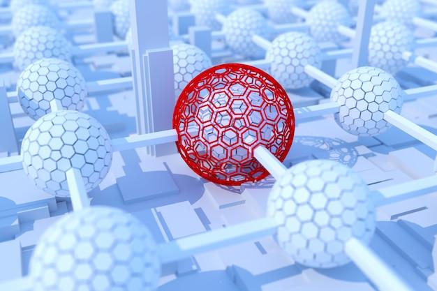 Concetto di tecnologia blockchain. attacco di virus. rendering 3d