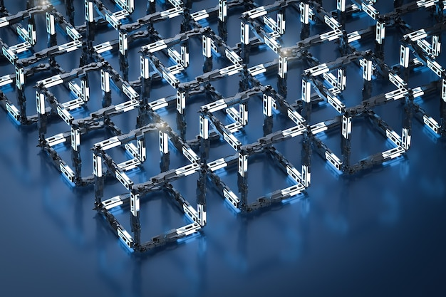 Concetto di tecnologia blockchain con connessione a blocchi di rendering 3d