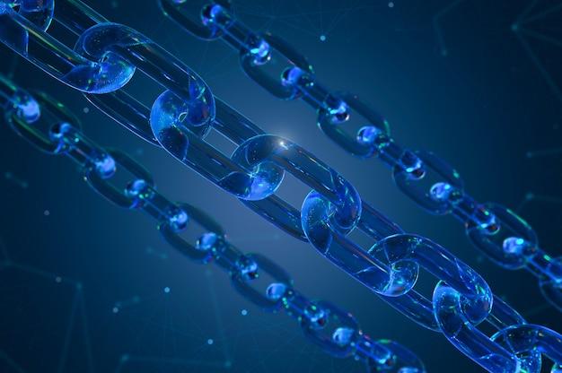 Concetto di tecnologia blockchain con collegamento a catene blu di rendering 3d