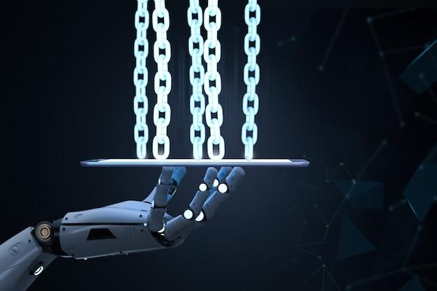 Concetto di tecnologia blockchain con braccio robot di rendering 3d con catena su tablet computer