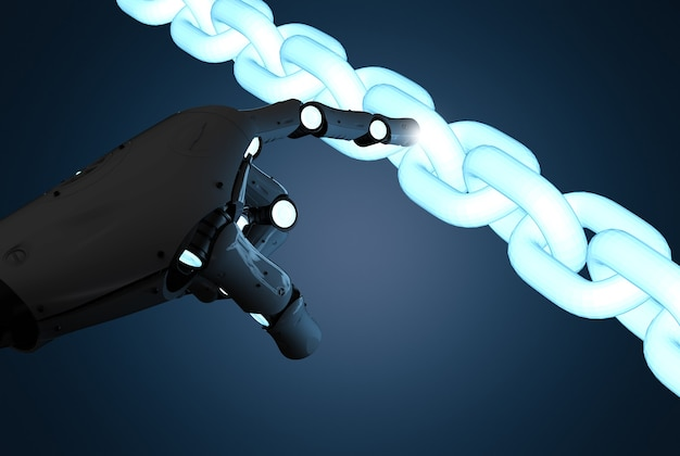 Concetto di tecnologia blockchain con braccio robot di rendering 3d con catena