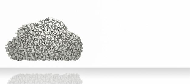 Blocchi di dati che formano il simbolo a forma di nuvola su sfondo bianco