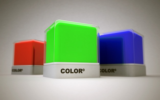 Blocchi di colori di stampa di base rgb; rosso, verde e blu