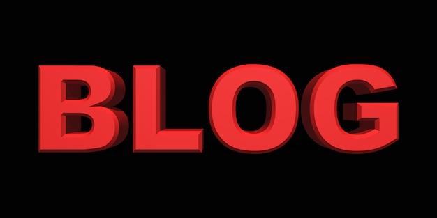 Blog testo 3d rosso su sfondo nero