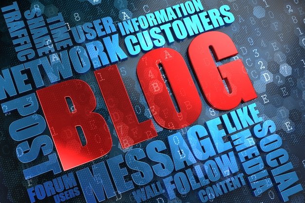 Blog - parola principale rossa con wordcloud blu su sfondo digitale.