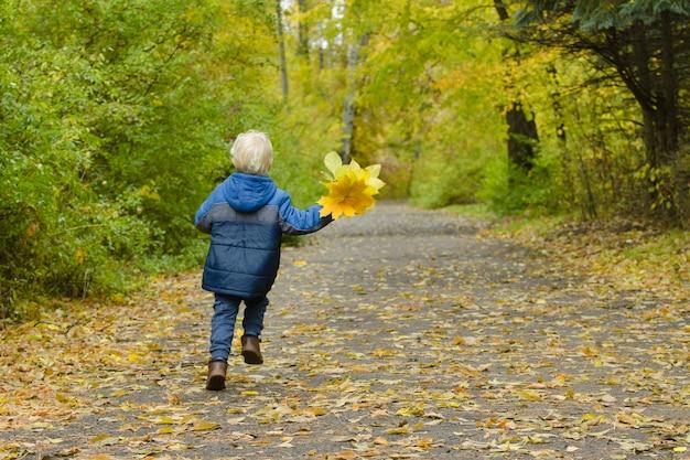 Ragazzo biondo che attraversa il parco in autunno
