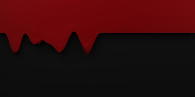 Confine goccia di sangue halloween flusso sanguigno sfondo rosso liquido nero sfondo illustrazione 3d