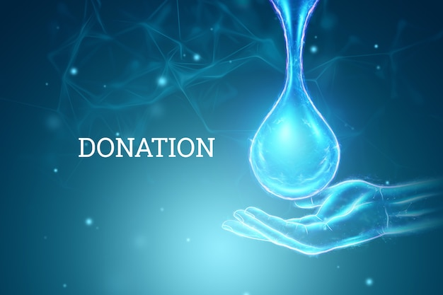 Ologramma di goccia di sangue, sfondo creativo. concetto di donazione di sangue, carità, medicina. rendering 3d, illustrazione 3d.