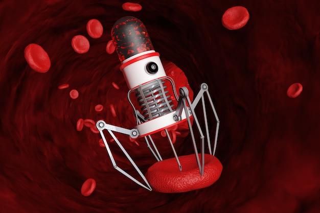 Nano robot del sangue con fotocamera, artigli e ago sopra le cellule del sangue all'interno della nave del primo piano. rendering 3d.