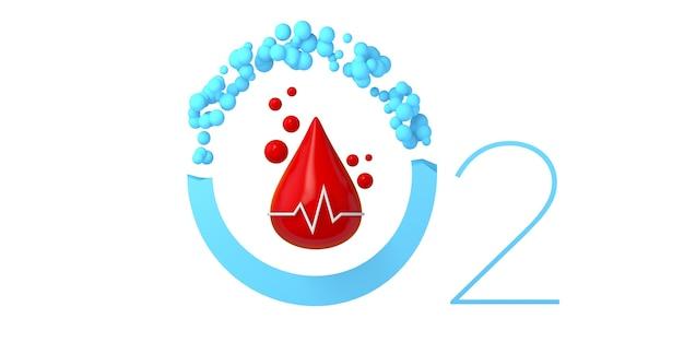 Icona di saturazione di ossigeno nel sangue con frequenza cardiaca. design minimale e moderno. illustrazione 3d.