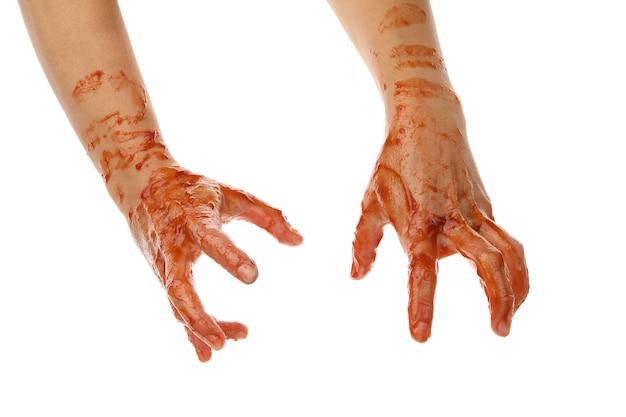 Mani di zombie di sangue isolate su bianco