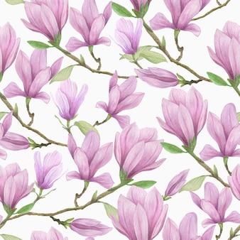 Reticolo senza giunte di fioritura della magnolia. fiori di magnolia dell'acquerello disegnati a mano
