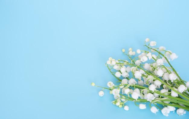 Mughetto in fiore su sfondo blu. copia spazio.