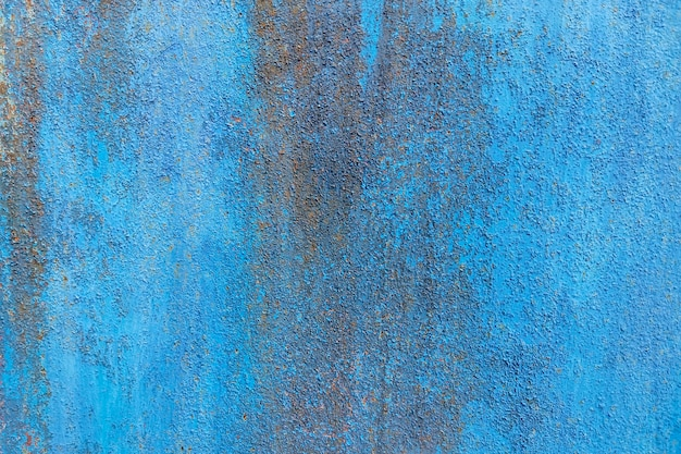 Sfondo astratto blu. vecchia superficie di metallo arrugginita, struttura approssimativa.