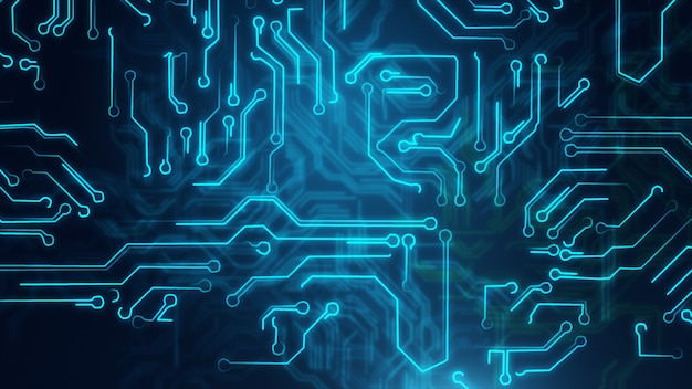 Priorità bassa astratta blu con il circuito alta tecnologia