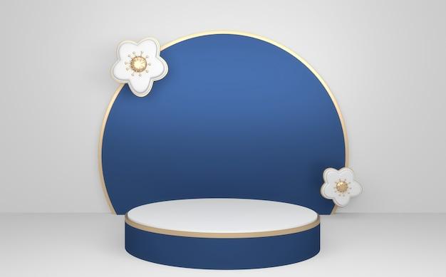 Fondo geometrico astratto blu, rappresentazione di concetto blu del podio di stile giapponese .3d