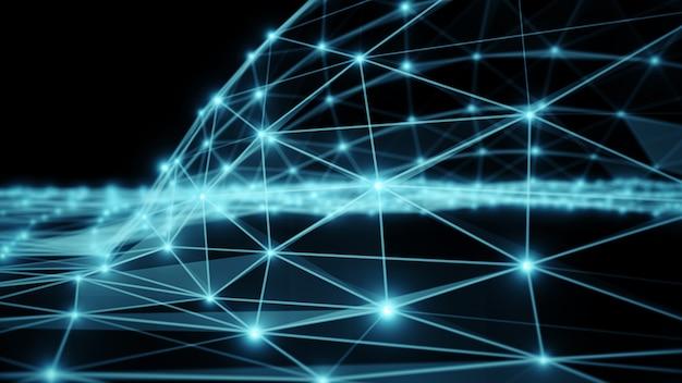 Tecnologia astratta blu di fantasia del plesso, illustrazione ingegneristica del fondo 3d di moto