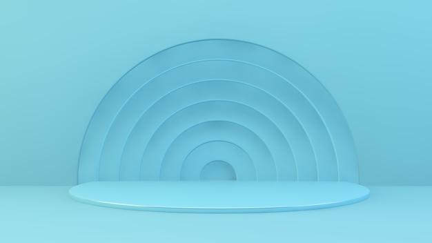 Rappresentazione astratta blu del podio di presentazione del prodotto 3d
