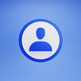 Pulsante profilo account blu su sfondo blu