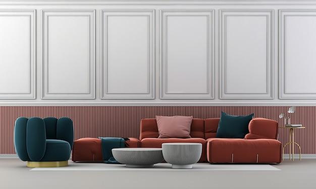 Poltrona blu e divano rosso sul pavimento bianco e sullo sfondo bianco elegante della parete