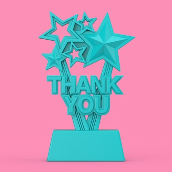 Trofeo premio blu con segno di ringraziamento in stile bicolore su sfondo rosa. rendering 3d
