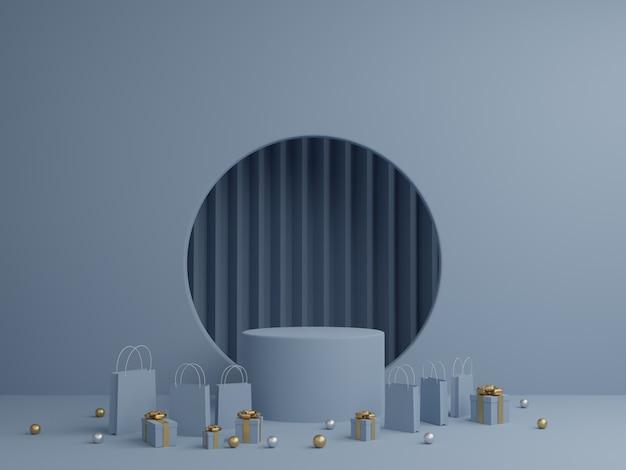 Sfondo blu con mockup podio, confezione regalo e shopping bag per prodotto. rendering 3d.