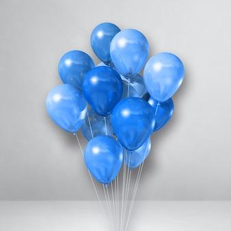 Mazzo di palloncini blu su uno sfondo di muro bianco. rendering di illustrazione 3d