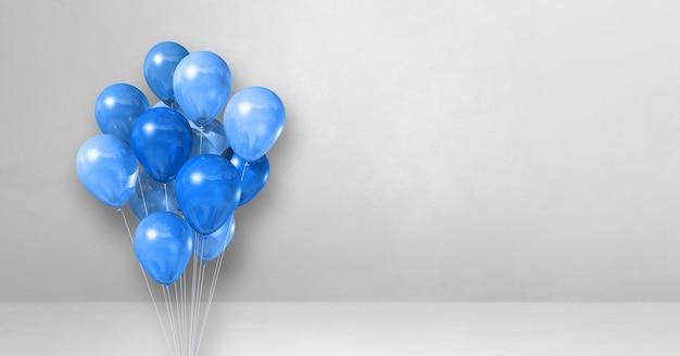 Mazzo di palloncini blu su uno sfondo di muro bianco. banner orizzontale. rendering di illustrazione 3d