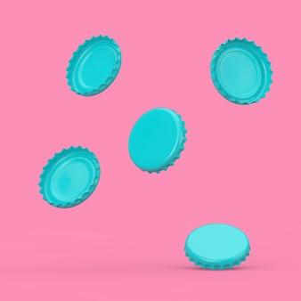 Tappi di bottiglia di birra blu in stile bicolore cadono su uno sfondo rosa. rendering 3d