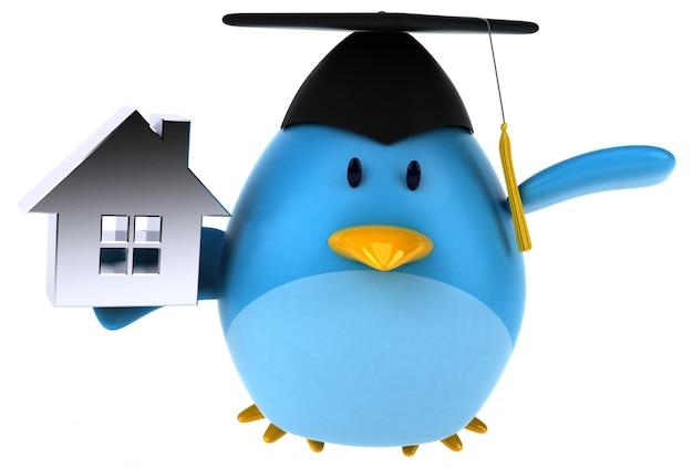Illustrazione blu dell'uccello 3d
