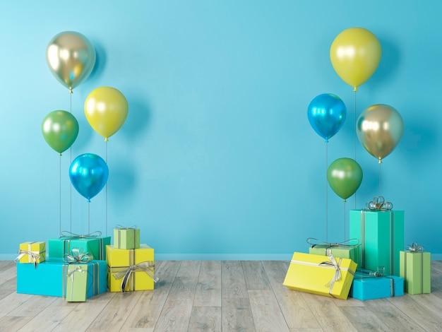 Muro bianco blu, interni colorati con regali, regali, palloncini per feste, compleanni, eventi. 3d render illustrazione, mockup.