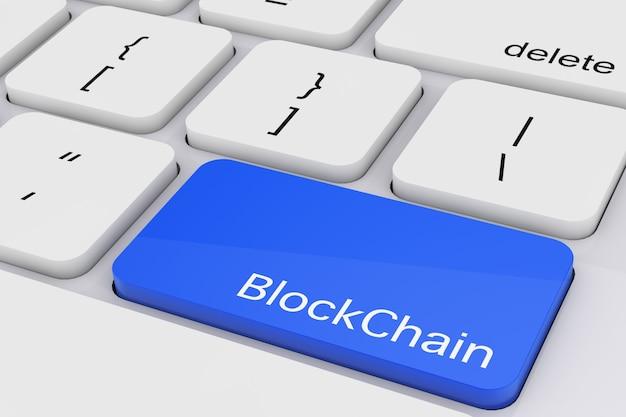 Chiave blockchain blu sul primo piano estremo della tastiera del pc bianco. rendering 3d