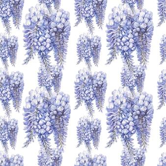 Reticolo senza giunte dell'acquerello disegnato a mano di fiori blu e blu