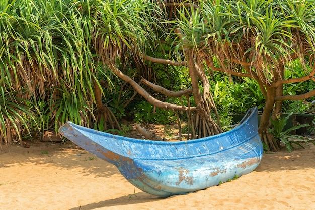 Barca blu e palme sulla spiaggia di sabbia