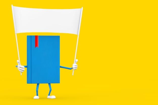 Mascotte del carattere del libro blu e bandiera in bianco bianca vuota con spazio libero per il vostro disegno su un fondo giallo. rendering 3d
