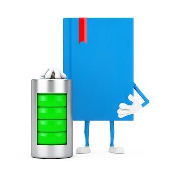 Mascotte del carattere del libro blu con la batteria di carico astratta su un fondo bianco. rendering 3d