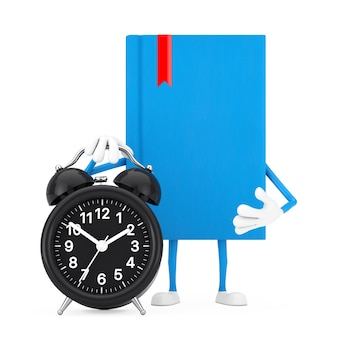 Mascotte del carattere del libro blu con la sveglia su un fondo bianco. rendering 3d