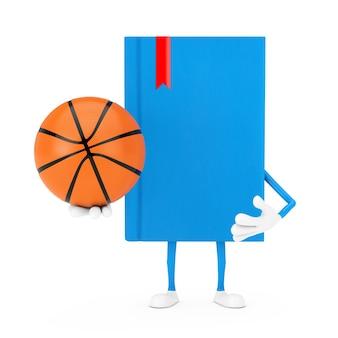 Mascotte del carattere del libro blu con la palla di pallacanestro su un fondo bianco. rendering 3d