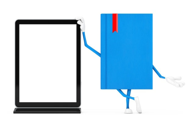 Mascotte del carattere del libro blu con il banco di mostra dell'affissione a cristalli liquidi della fiera commerciale in bianco come modello per il vostro disegno su un fondo bianco. rendering 3d
