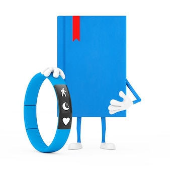Mascotte del carattere del libro blu con l'inseguitore di forma fisica blu su un fondo bianco. rendering 3d